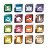 Utensilios de la cocina e iconos de los dispositivos Foto de archivo