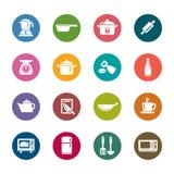 Utensilios de la cocina e iconos del color de los dispositivos Imágenes de archivo libres de regalías