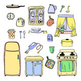 Utensilios de la cocina e iconos dibujados mano del cookware fijados, cocinando las herramientas y el equipo del artículos de coc Fotos de archivo
