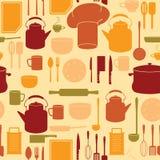 Utensilios de la cocina en fondo inconsútil stock de ilustración