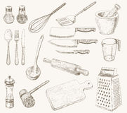 Utensilios de la cocina fijados Fotos de archivo libres de regalías