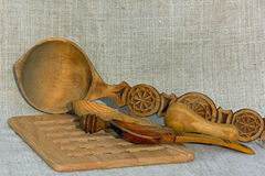 Utensilios de madera Fotografía de archivo