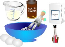 Utensilios e ingredientes retros de la hornada Imágenes de archivo libres de regalías