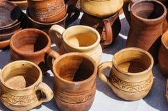Utensilios hechos a mano de cerámica Foto de archivo