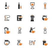Utensilios para la preparación de los iconos de las bebidas Imagenes de archivo