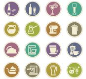 Utensilios para la preparación de los iconos de las bebidas Fotografía de archivo libre de regalías
