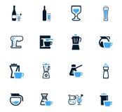 Utensilios para los iconos de las bebidas fijados Fotos de archivo
