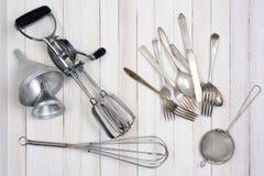 Utensilios viejos de la cocina Foto de archivo libre de regalías