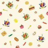 Utensilios y alimento de la cocina stock de ilustración