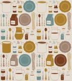 Utensilios y comida de la cocina Cookware, fondo de la cocina casera Foto de archivo libre de regalías