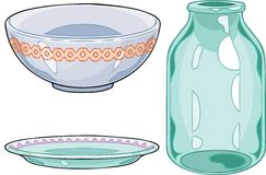 Utensils. The illustration shows some types of utensil, on separate layers Stock Photography