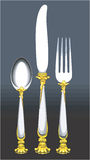 Utensils. Illustration of Spoon, knife and fork Royalty Free Stock Photo