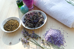 Utensils for aromatherapie with towel and lavende stock photography