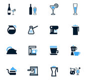 Utensils for beverages icons set Stock Photos