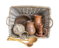 Utensils. clay. Ware from clay. basket of vines. retro. utensils village. handwork royalty free stock photo