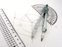 utensils för diagramgeometribild Arkivbild