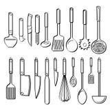 utensils för service för anddatalistkök trevliga Royaltyfri Bild