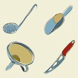 utensils för service för anddatalistkök trevliga Arkivbilder