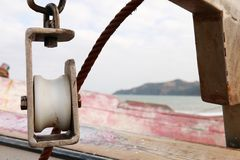 Pulley of a fishing boat Stock Photography