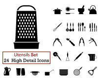 24 Utensils Icons. Set of 24 Utensils Icons in Black Color Stock Images