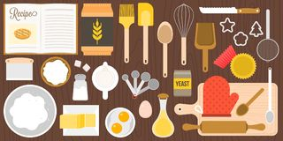 Utensils and ingredients for bakery on wooden background in top view stock illustration