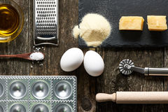 Utensils and ingredients for ravioli Royalty Free Stock Photo