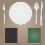 Utensils and Menu Stock Photo