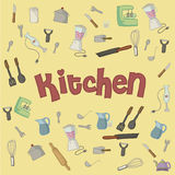 Utensils mountain background Stock Images
