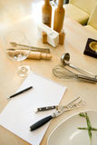 Utensils and notebook Stock Image