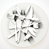 Utensils on a Plate Stock Images