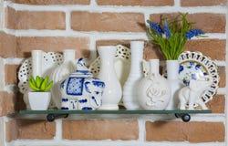 Utensils, plates, shelf, kitchen Stock Photos