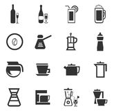 Utensils for the preparation of beverages. Icon set for web sites and user interface Stock Images