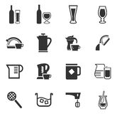 Utensils for the preparation of beverages. Icon set for web sites and user interface Royalty Free Stock Photography
