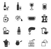 Utensils for the preparation of beverages. Icon set for web sites and user interface Royalty Free Stock Images