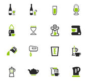 Utensils for the preparation of beverages icons. Utensils for the preparation of beverages icon set for web sites and user interface Royalty Free Stock Photos