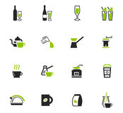 Utensils for the preparation of beverages icons. Utensils for the preparation of beverages icon set for web sites and user interface Royalty Free Stock Photo