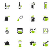 Utensils for the preparation of beverages icons. Utensils for the preparation of beverages icon set for web sites and user interface Stock Photography