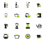 Utensils for the preparation of beverages icons. Utensils for the preparation of beverages icon set for web sites and user interface Stock Images