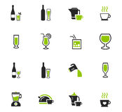 Utensils for the preparation of beverages icons. Utensils for the preparation of beverages icon set for web sites and user interface Stock Photo