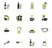 Utensils for the preparation of beverages icons. Utensils for the preparation of beverages icon set for web sites and user interface Stock Photos