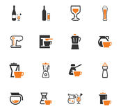 Utensils for the preparation of beverages icons Stock Images