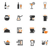 Utensils for the preparation of beverages icons Stock Photos
