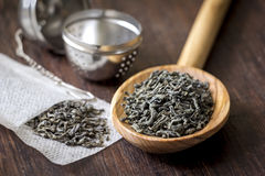 Utensils for preparing tea on the table Stock Photography