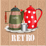 Utensils in a retro style. Coffee pots. Vector illustration Royalty Free Stock Photos
