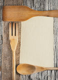 Utensils, sheet of paper and ribbon Royalty Free Stock Photography