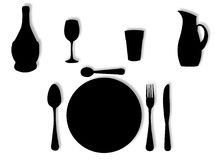 Utensils in silhouette Stock Image
