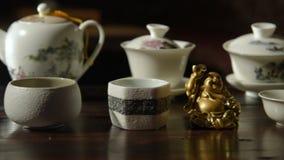 Utensils for the tea ceremony stock video