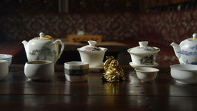 Utensils for the tea ceremony. Ceramic ware for the tea ceremony closeup stock footage