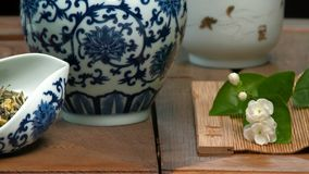 Utensils for the tea ceremony. Close-up table for the tea ceremony, utensils and accessories stock footage