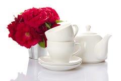 Utensils for tea-drinking white Stock Image